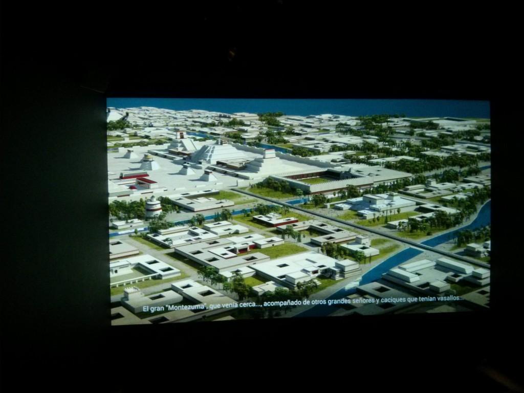 Captura del audiovisual de animación que nos enseña la gran ciudad de Tenochtitlán
